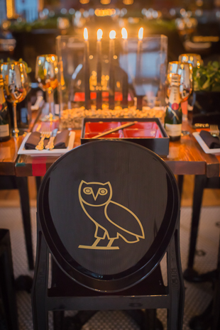 OVO custom painted chars and engraved chopsticks at Drake's birthday party in Toronto