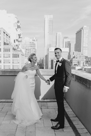 A bride and groom's First Look at Park Hyatt Toronto