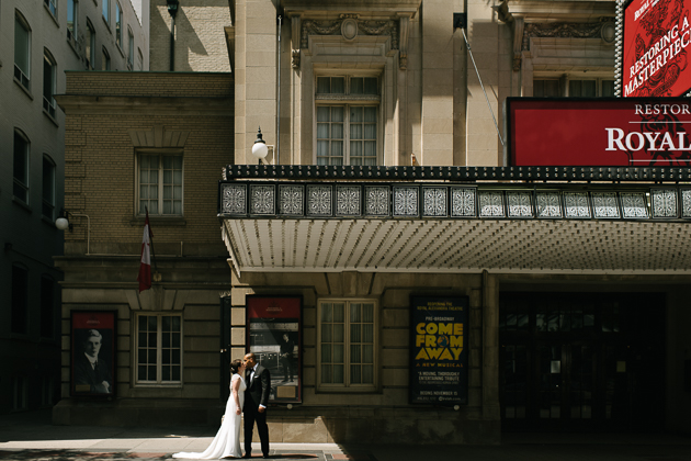 Moody light and dramatic lines of downtown Toronto make for some cool wedding photos