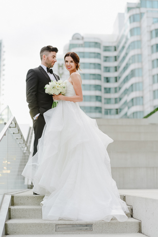 Skyscrapers and stairs look great in wedding pictures!