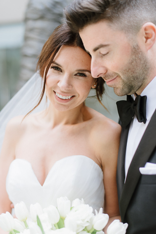 Can't decide what I love more: the bride's gorgeous smile or how perfect they look together!