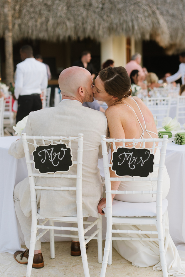 A bride and groom sharing an intimate moment at their Royalton Punta Cana wedding