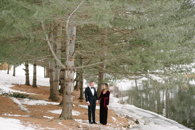 Velvet red wedding dress looked perfect at this winter engagement shoot