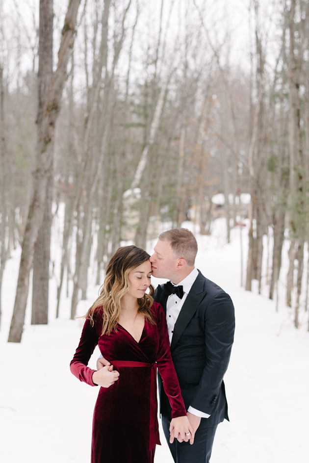 119b566c85771 ... Velvet red wedding dress looked perfect at this winter engagement shoot