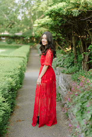 e4c6365b62f8c ... This bride-to-be wore a boho-inspired red lace dress for her ...