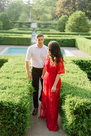 This bride-to-be wore a boho-inspired red lace dress for her engagement photos at High Park