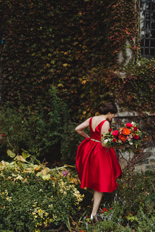 cee7d791059cd This Hart House wedding featured a red wedding dress and we loved it!