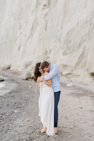 Lucie and Jon catching a quiet moment during their Scarborough Bluffs engagement session
