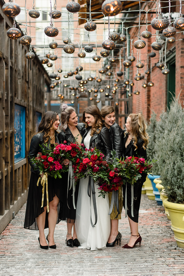 Black leather bridesmaids outfit