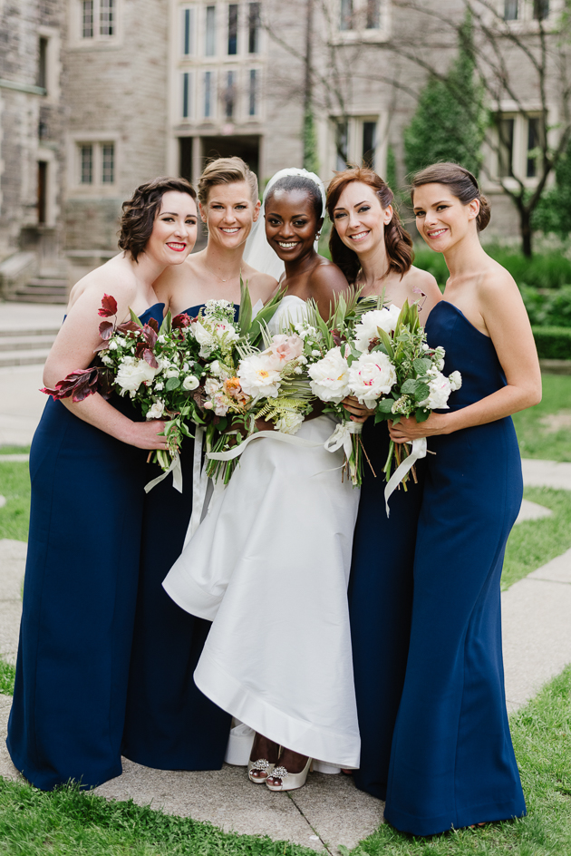 Blue, sleek bridesmaid dresses