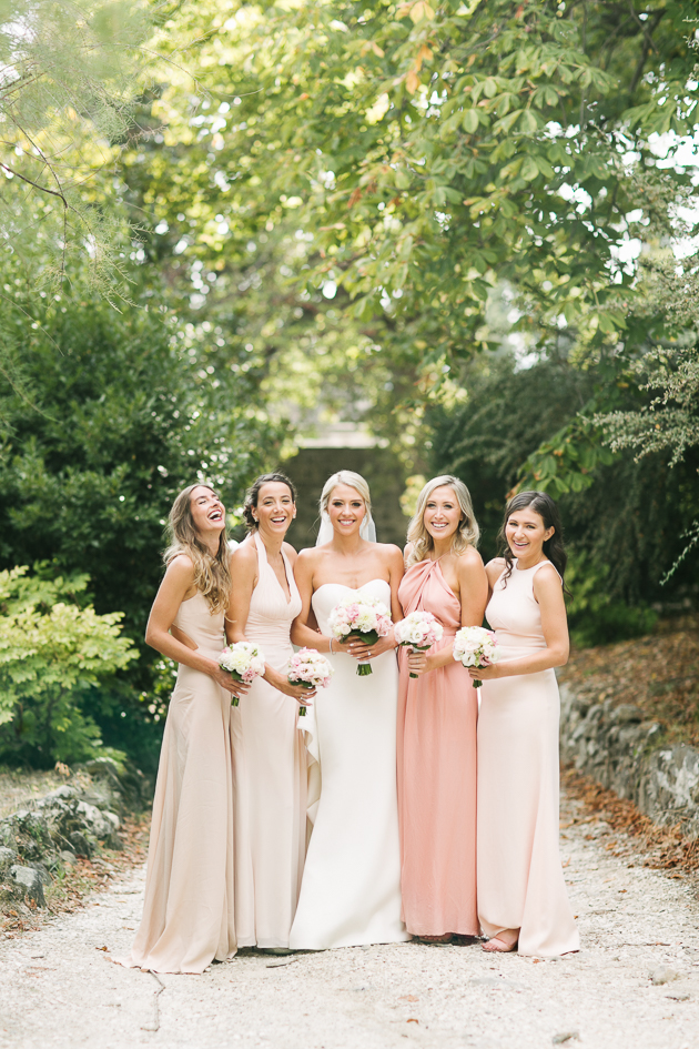 Blush and peach bridesmaid dresses
