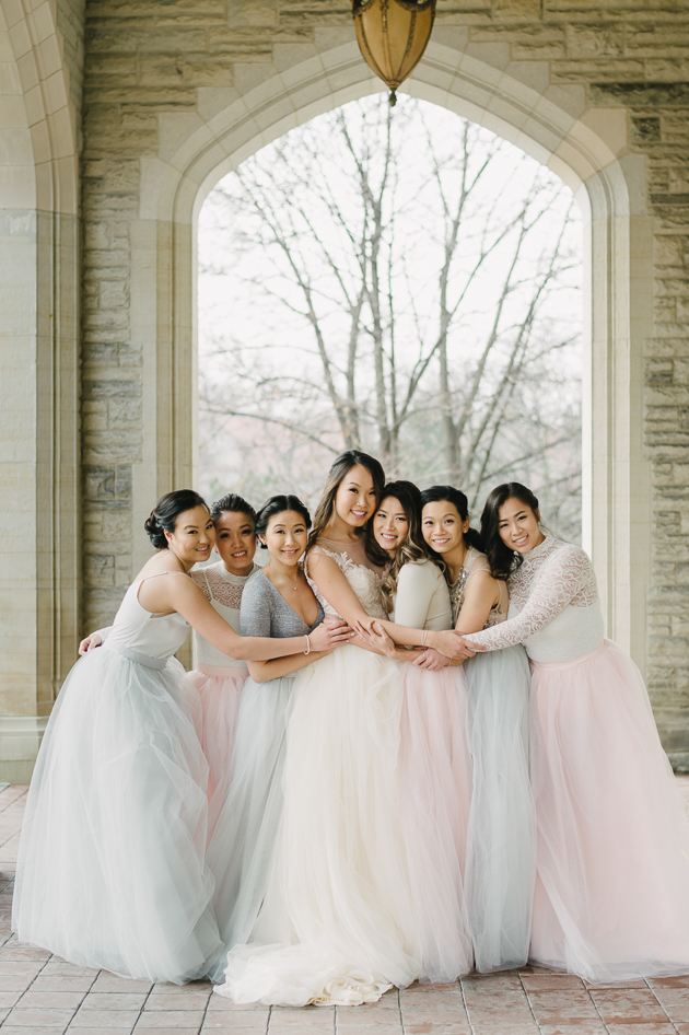 Tulle skirt, two-piece bridesmaid dresses