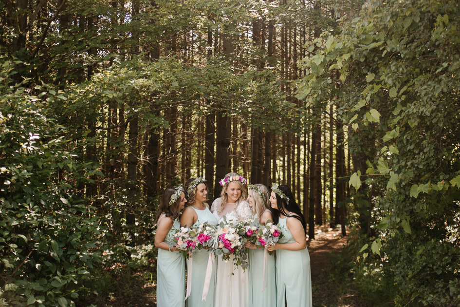 Mint, boho bridesmaid dresses