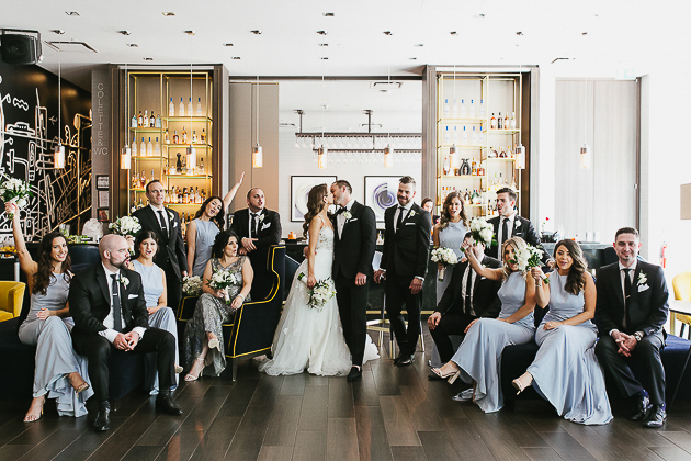 Bridal party photos at Thompson Hotel lobby