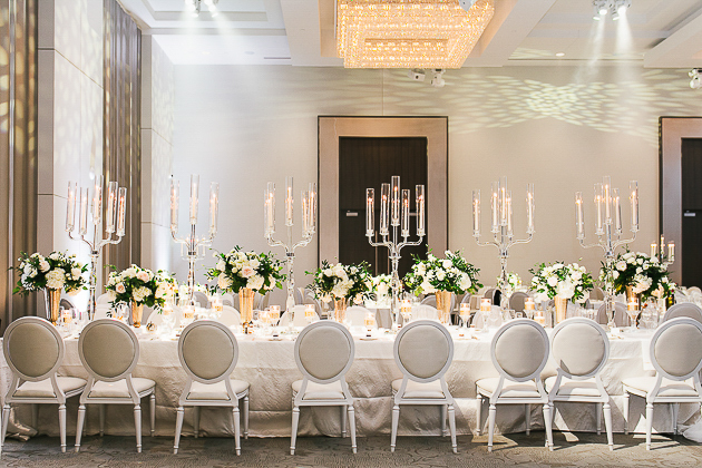 Chic, white and gold Chateau Le Parc wedding reception