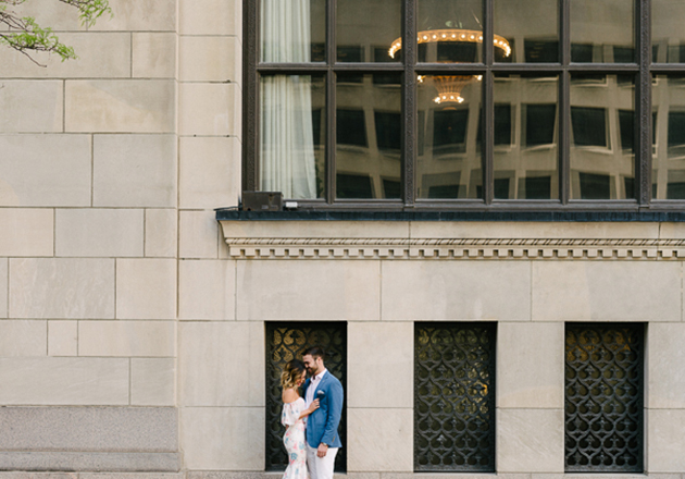 Engagement photos at the Financial District in downtown Toronto