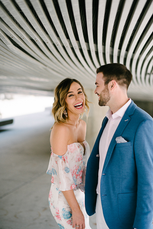 Engagement photos near the City Hall in Toronto