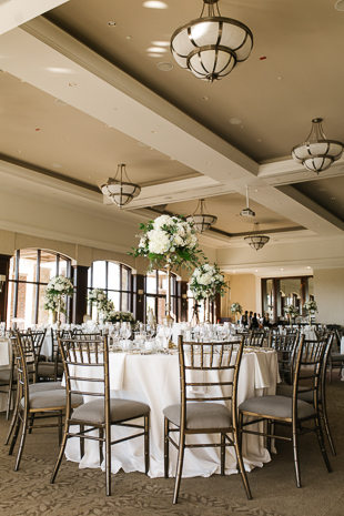 White and gold wedding decor at Eagles Nest Wedding