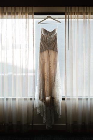 Siren's beautiful dress for her Distillery District wedding