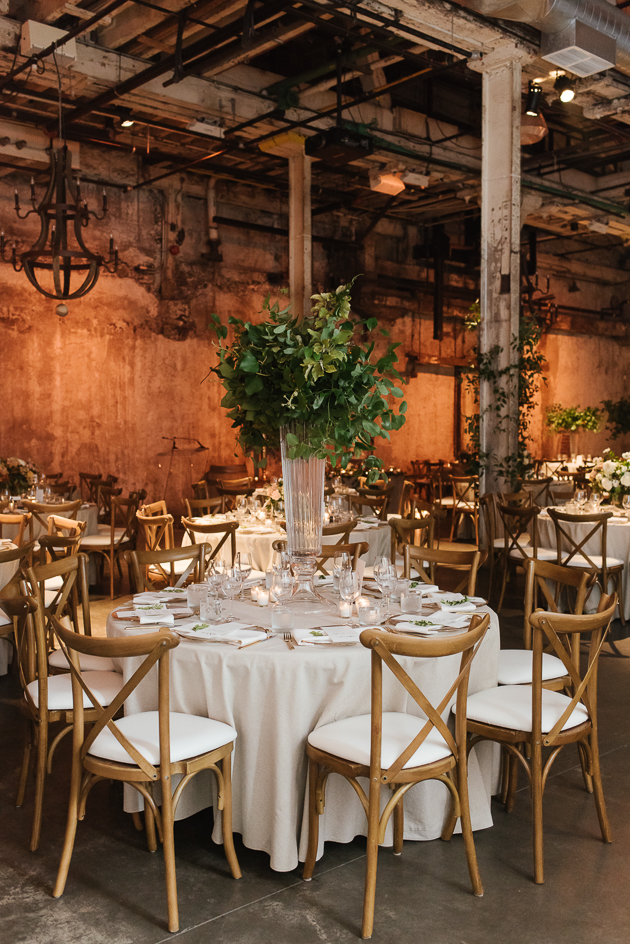 Green accents at the romantic Fermenting Cellar wedding in Distillery District