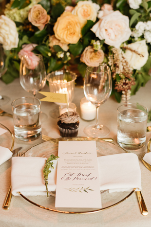 Gold and blush details at the romantic Distillery District wedding at Fermenting Cellar