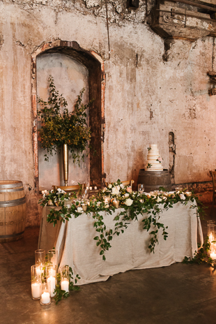 Lots of greenery and gold accents at a Fermenting Cellar wedding in Distillery District