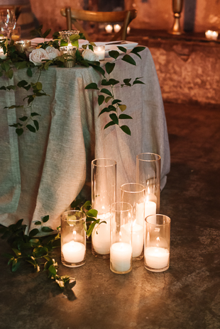 Candlelight twinkles at this beautiful Fermenting Cellar wedding