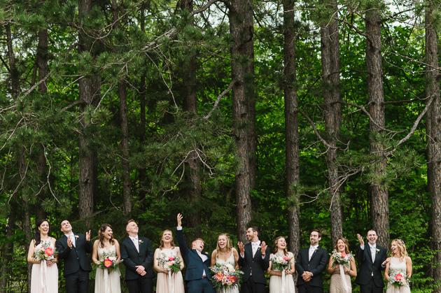 A fun bridal party photo during WhitneyAnne and Jon Muskoka wedding