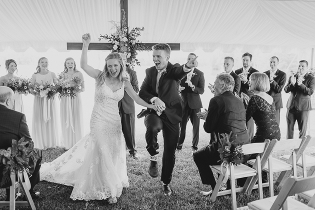 A bride and groom dancing after their wedding ceremony in Muskoka