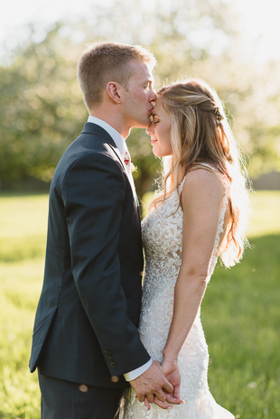 A bride and groom portrait during their Muskoka wedding reception