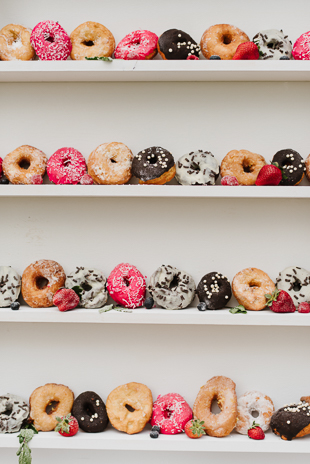 Doughnut wall at the Muskoka wedding reception
