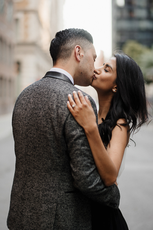 romantic downtown engagement session in Toronto photos