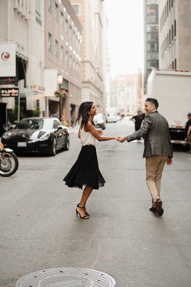 downtown engagement session in Toronto photos