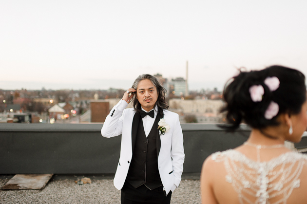 Creative wedding photos at The Burroughes Building rooftop