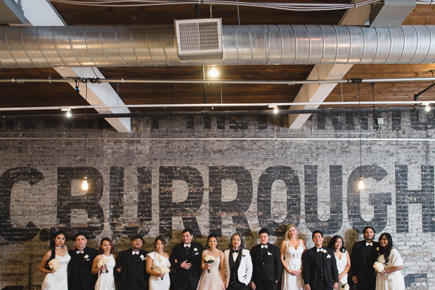 Bridal party wedding photos at The Burroughs Building