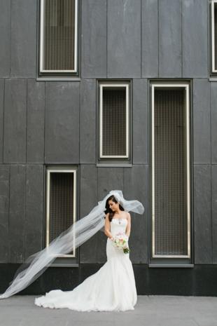 Bride's portrait outside of Four Seasons hotel
