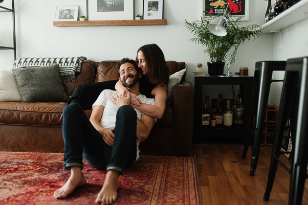 cozy and relaxed at home engagement photos