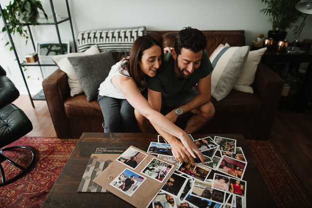 cozy at home engagement photos