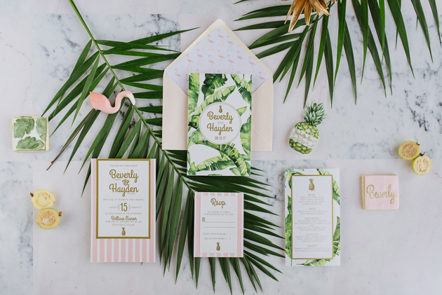 Beverly Hills Hotel inspired wedding creative