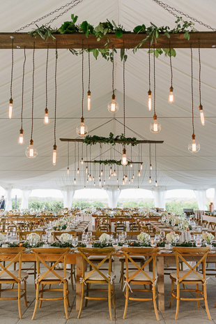 Industrial string bulbs and organic decor at the Ravine Winery wedding