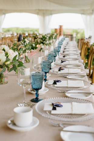 Pink and blue wedding decor at the Ravine Winery in Niagara