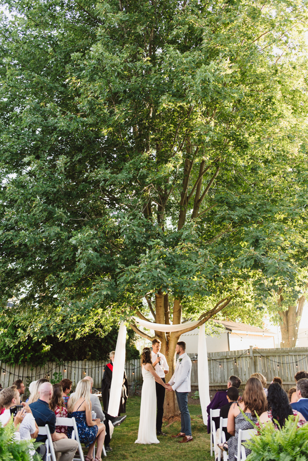 Surprise wedding ceremony at a backyard
