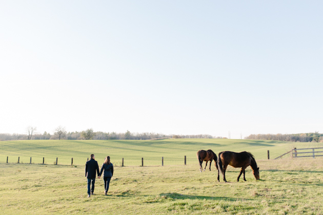 Horseback riding countryside engagement photos are always beautiful.