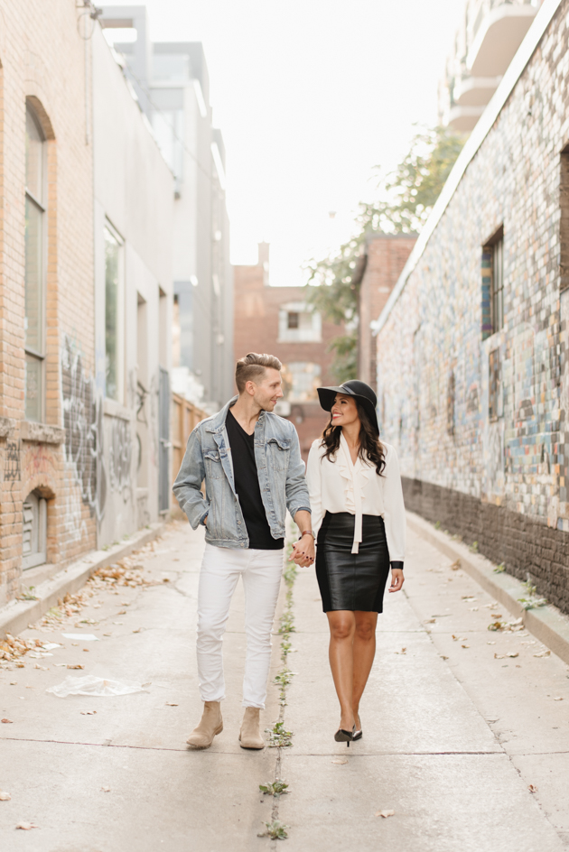 Downtown Toronto engagement photos in Queen St West