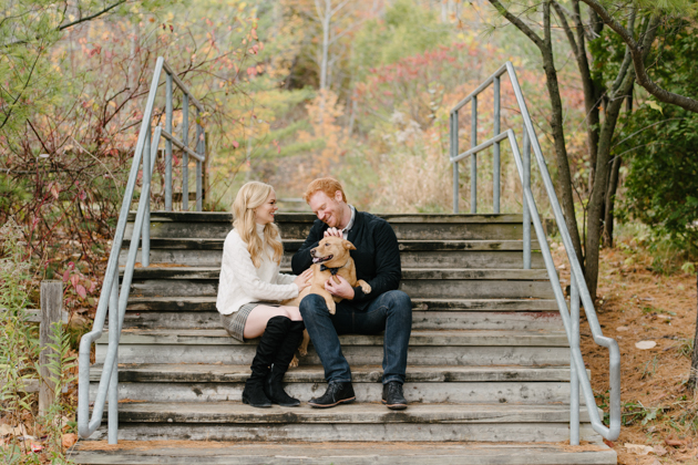 Engagement photos with a dog can't be any more cuter!