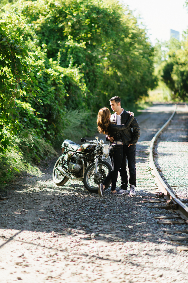 Motorcycle engagement photos look super cool.