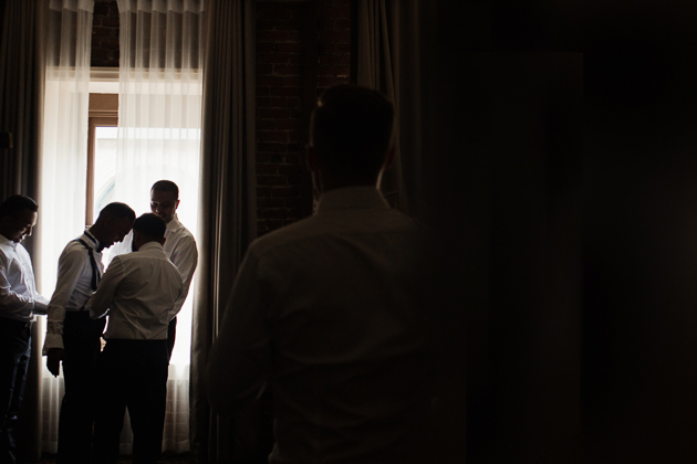 Groom getting ready in the morning of his Montreal wedding