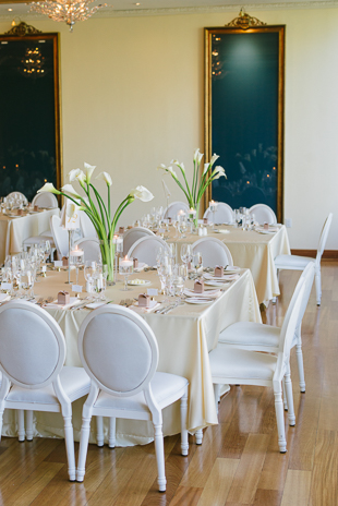 White lilies wedding decor at the Rosewater Room wedding reception in Toronto
