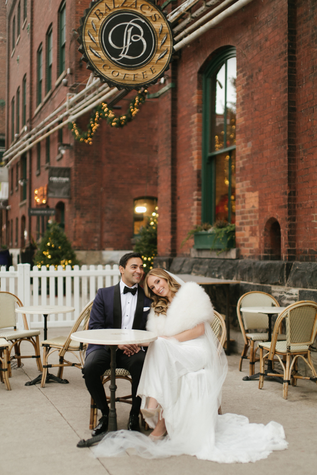 Romantic Fermenting Cellar wedding at Distillery District during Christmas