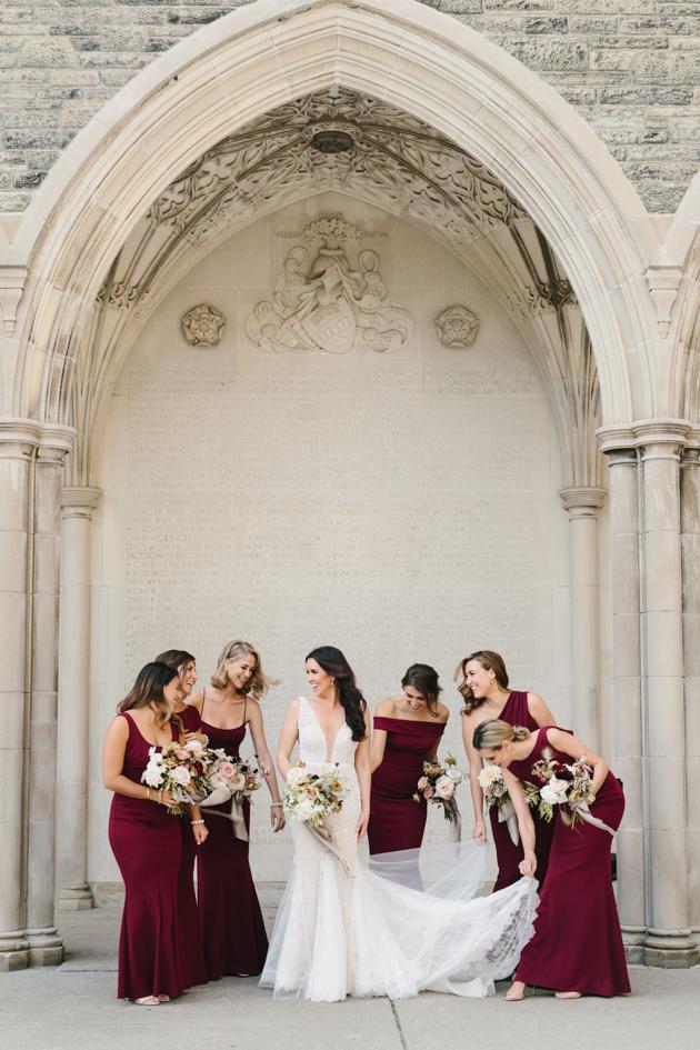 Bridal party wedding photos at U of T